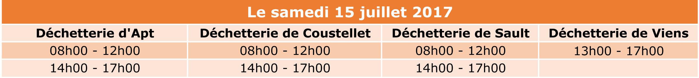 Fermeture des déchetteries le 14 juillet
